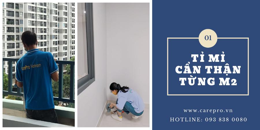 Nhân viên vệ sinh công nghiệp Carepro Việt Nam  cẩn thận tỉ mỉ